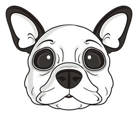 dog, french, bulldog, breed, background, white, isolated, cartoon, puppy,  animal, muzzle, snout