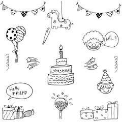 Element birthday vector art doodle