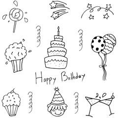 Party set doodle vector illustration