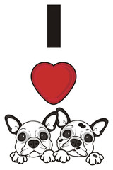 inscription, words, letters, love, red, heart, two, couple, together, dog, french, bulldog, breed, background, white, isolated, cartoon, puppy,  animal, muzzle, snout, paws