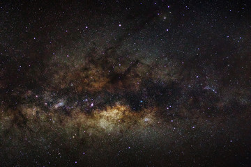 milky way galaxy, long exposure photograph, with grain..
