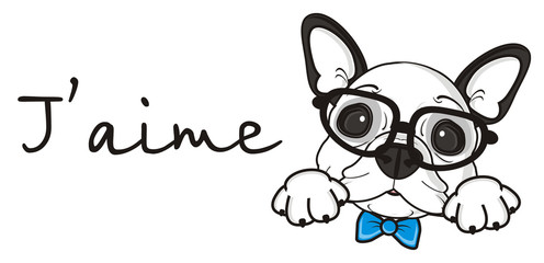 inscription, words, letters, ad, love, j'aime, bow, blue, boy, glasses, dog, french, bulldog, breed, background, white, isolated, cartoon, puppy, muzzle, snout