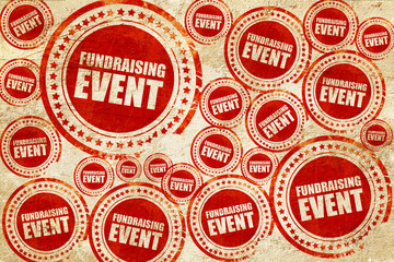 fundraising event, red stamp on a grunge paper texture