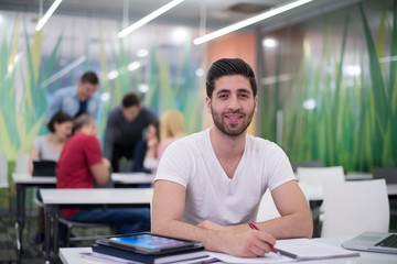 male student in classroom