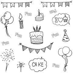 Doodle vector art birthday party hand draw