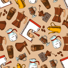 Seamless coffee pots and cups pattern background