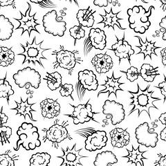 Comics explosion, speech bubbles seamless pattern