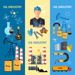 Oil industry banners extraction and processing of oil