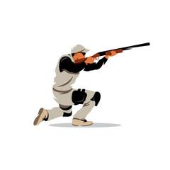 Vector Clay Shooting Cartoon Illustration.