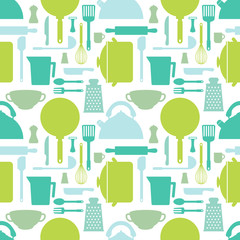 Seamless pattern with kitchen tools. Cook accessories in blue and green tones. Vector illustration.