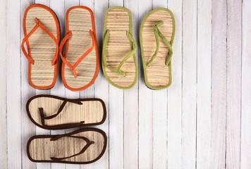 Beach Sandals White Wood