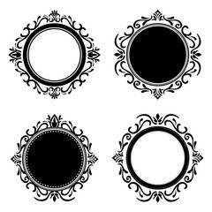 Stylish design. Decorated icon. Black and white illustration , vector