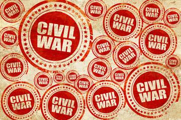 civil war, red stamp on a grunge paper texture
