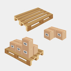 Industrial pallets and boxes for warehouse. Simple set of box and pallets. Made in isometric style
