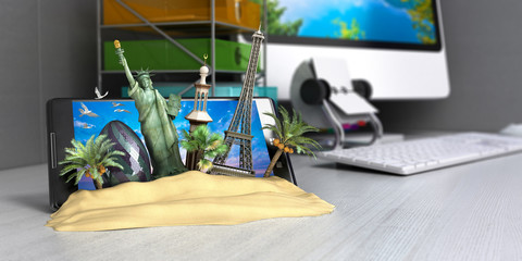 VT concept of travel, landmarks look out for the sand the phone