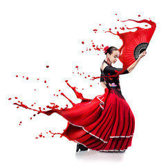 young woman dancing flamenco with paint splashes isolated on whit
