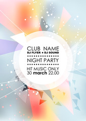 Vertical light  blue music party background with colorful graphic elements and place for text.