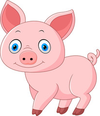 Cartoon pig isolated on white background