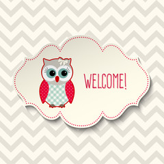 Cute owl with text welcome, illustration
