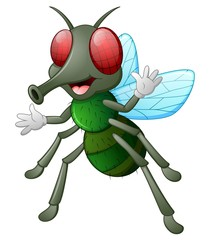 Cute fly animal waving hand