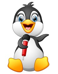 Cartoon penguin hold microphone
