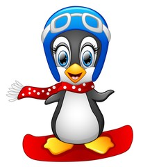 Cute Penguin Snowboarding