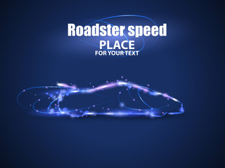 Motion design. Roadster particles, symbolizing speed. Blur and light isolated on black background. Vector illustration