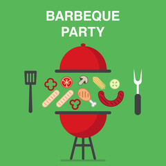 BBQ illustration with chicken legs, salmon and meat steaks, sausages and vegetables.