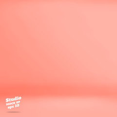 Vector :Empty pastel peach studio room background ,Template mock