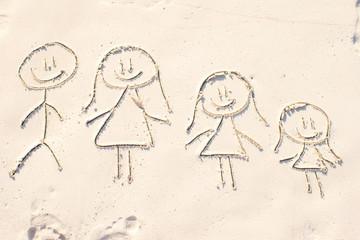 Family symbol drawn on beach white sand