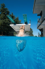 Wall Mural - Spring board diver, water entry. Over-under shot