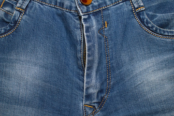 open fly low blue jeans texture background
