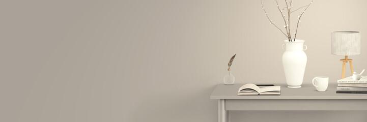 Schreibtisch mit Büchern und Accessoires - stylish grau, femininer Wohnstil - Banner für Text
