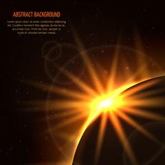 Sunrise vector space background. Planet and sunrise star, light sunrise in universe illustration