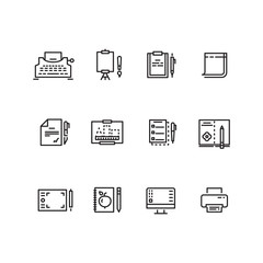 Writing tools linear icons. Tool tablet and pen for writing and drawing, equipment to writing vector illustration