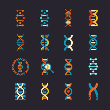 DNA genetic vector flat icons set. Dna biotechnology sign, structure dna molecule illustration