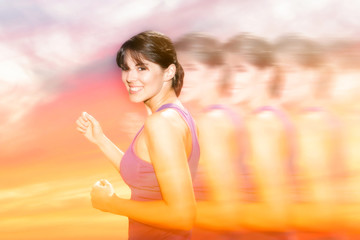 double exposure of woman jogging and red sky