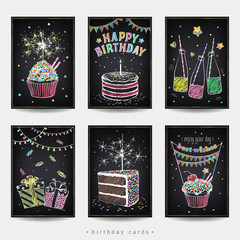 Set of Birthday Invitation cards. A piece of birthday cake with candle and gift