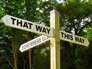 sign symbolizing indecision, choices, opportunity, the way forward