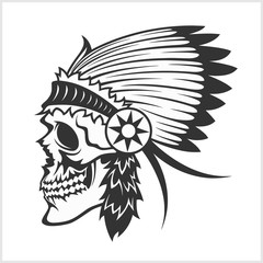 native american indian chief headdress, mascot in tribal style