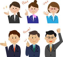 ビジネスマン 表情 セット ポジティブ
