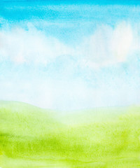 Aluminium Prints Lime green watercolor abstract sky, clouds and green grass background