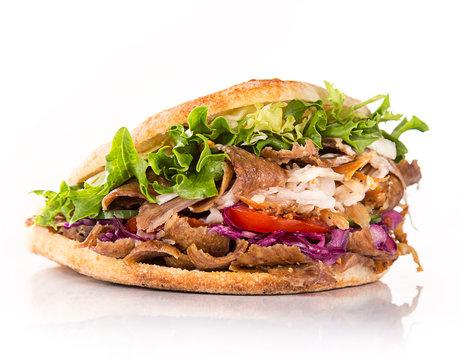 Close up of kebab sandwich