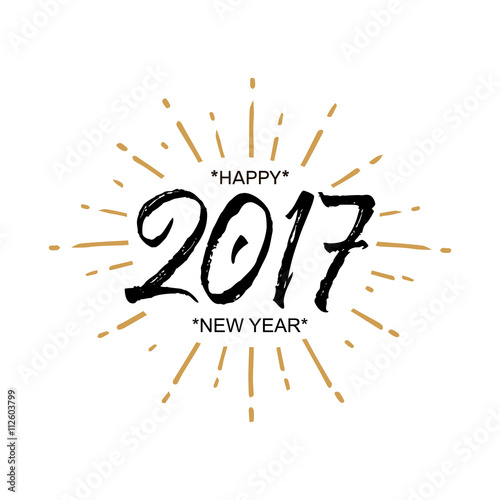 2017 Happy New Year. Beautiful greeting card calligraphy black text ...