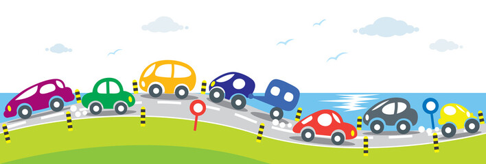 Horizontal seamless background of Cars on the road