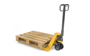 Pallet jack with wooden pallet isolated on white. 3d rendering