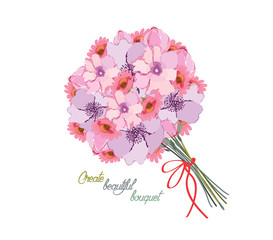 Romantic background with bouquet of peonies. All elements are separate