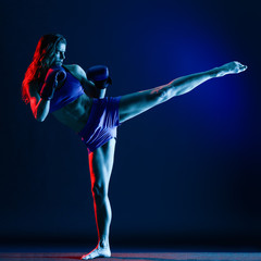 Foto op Aluminium Vechtsport woman boxer boxing isolated
