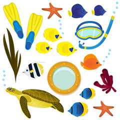 Underwater icon collection on white background. Coral reef colorful fish, turtel and diving equipment set objects