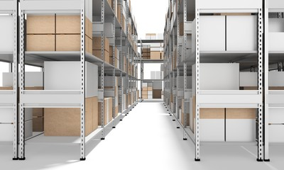 3d interior warehouse with rows of shelves and boxes